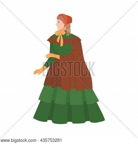 Woman In Luxury Historical Costume Of 19th Century. Victorian Fashion Cartoon Vector Illustration