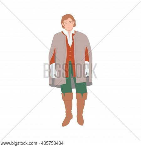 Noble Man In Historical Costume Of 18th Century Cartoon Vector Illustration
