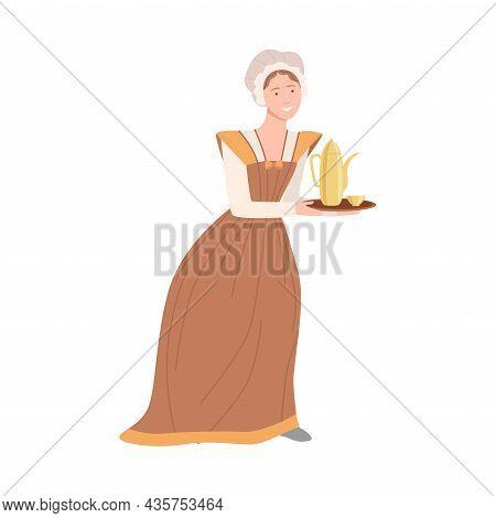 Woman Maid In Historical Costume Of 18th Century Cartoon Vector Illustration