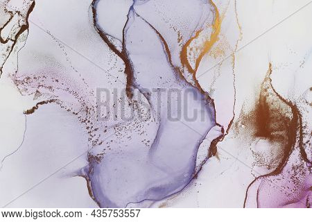 Abstract Hand Painted Alcohol Ink Texture In Luxury Style. Light Violet And Golden Color Creative Ba
