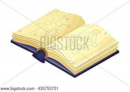 Old Opened Book With Magic Spells Cartoon Vector Illustration
