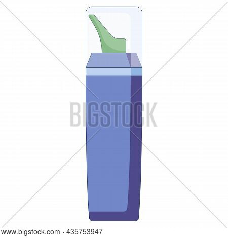 Medical Concept. Nasal Spray. For Colds, Flu, Cough Medicine Sprays In The Nose In A Flat Style Isol