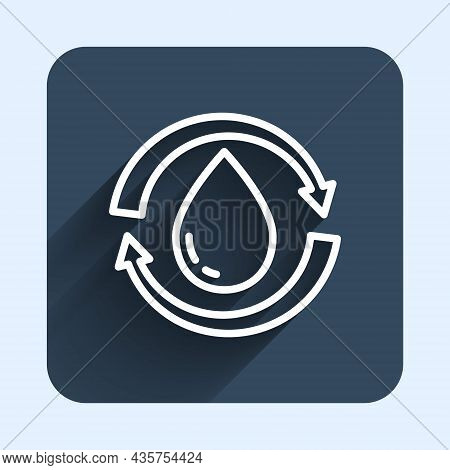 White Line Recycle Clean Aqua Icon Isolated With Long Shadow Background. Drop Of Water With Sign Rec