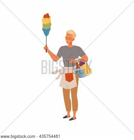 Man Wiping Dust At Home. Househusband Doing Housework Cartoon Vector Illustration
