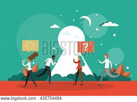 Business People With Mobile Phone, Speech Bubble In Front Of Keyhole, Flat Vector Illustration. Busi