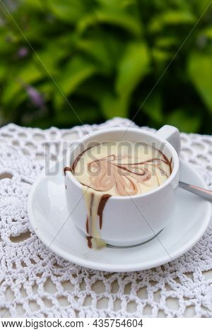 Hot Chocolate Cup On Table At Cafe Outdoors Summer. Coffee Time And Breakfast In Restaurant. Chocola