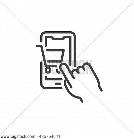 Online Shopping Line Icon. Linear Style Sign For Mobile Concept And Web Design. Hand Touching Shoppi