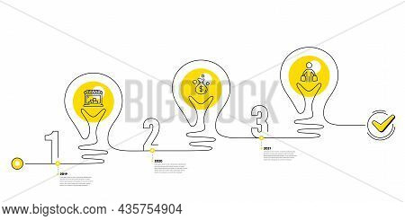 Trade Infographic Timeline With 3 Steps. Lightbulb Journey Path Infographics. Shopping Process Diagr