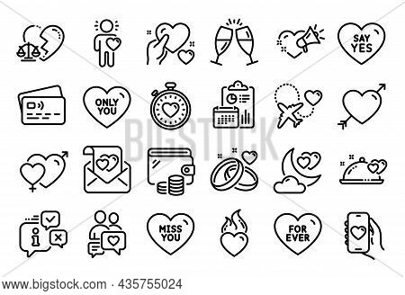Vector Set Of Love, Dating Chat And Say Yes Line Icons Set. Calendar Report, Money Wallet And Credit