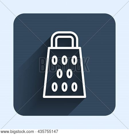 White Line Grater Icon Isolated With Long Shadow Background. Kitchen Symbol. Cooking Utensil. Cutler
