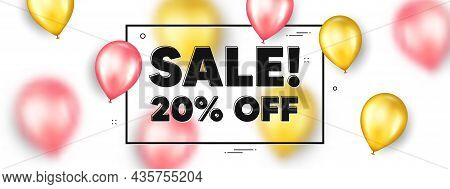 Sale 20 Percent Off Discount. Balloons Frame Promotion Ad Banner. Promotion Price Offer Sign. Retail