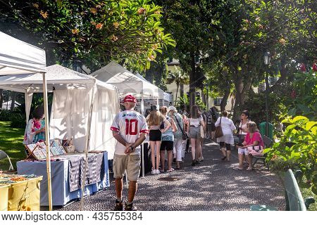 Funchal, Portugal - August 20, 2021: This Is A Flea Market In The Urban Municipal Park.