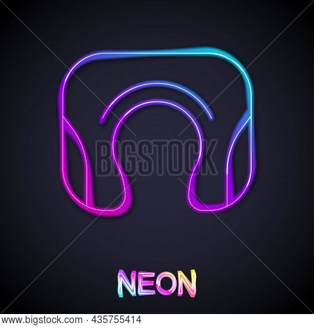 Glowing Neon Line Travel Neck Pillow Icon Isolated On Black Background. Pillow U-shaped. Vector