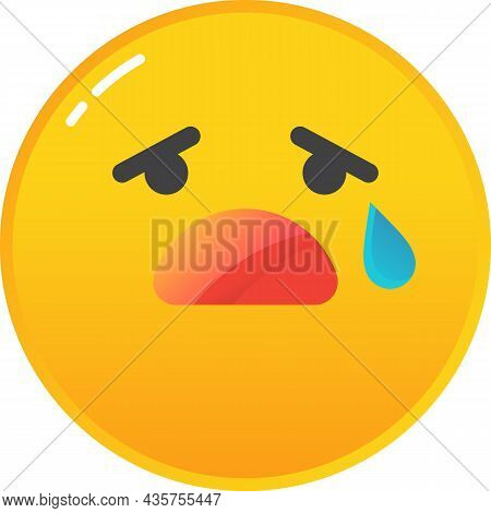 Emoji Cry Sad Emoticon Icon Tear On Face Vector