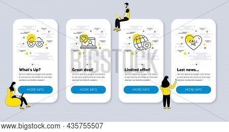 Vector Set Of Love Icons Related To Love Glasses, World Brand And Friends Chat Icons. Ui Phone App S