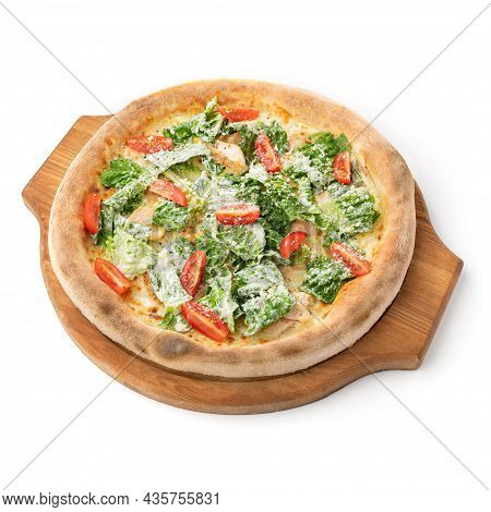 Pizza Caesar Isolated On White Background. Tasty Hot Pizza With Cheese, Salad And Tomato On Wooden D