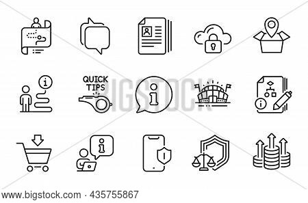 Business Icons Set. Included Icon As Justice Scales, Tutorials, Sports Arena Signs. Cv Documents, Cl