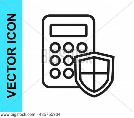 Black Line Security System Control Panel With Display Icon Isolated On White Background. Keypad Of S