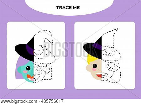 Witch And Cute Little Witch Worksheet. Education Game For Children. Happy Halloween Game. Super Moto