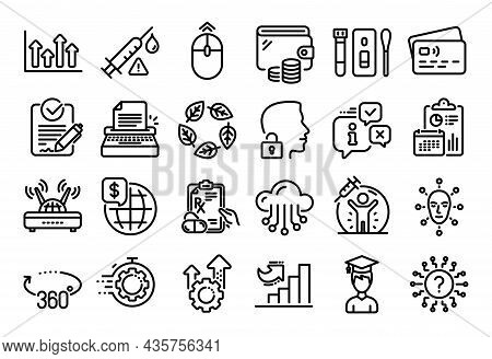 Vector Set Of Covid Test, Organic Tested And Cloud Storage Line Icons Set. Calendar Report, Money Wa