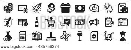 Set Of Simple Icons, Such As Approve, Beer Bottle, Payment Exchange Icons. Megaphone, Cashback, Idea