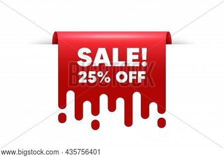 Sale 25 Percent Off Discount. Red Ribbon Tag Banner. Promotion Price Offer Sign. Retail Badge Symbol
