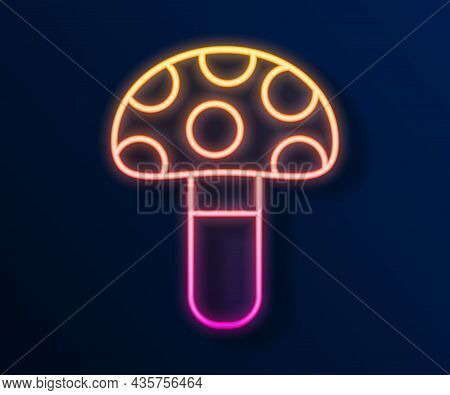 Glowing Neon Line Psilocybin Mushroom Icon Isolated On Black Background. Psychedelic Hallucination.