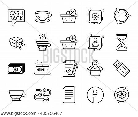 Vector Set Of Music Making, Cafe Creme And Add Purchase Line Icons Set. Mocha, Payment And Espresso