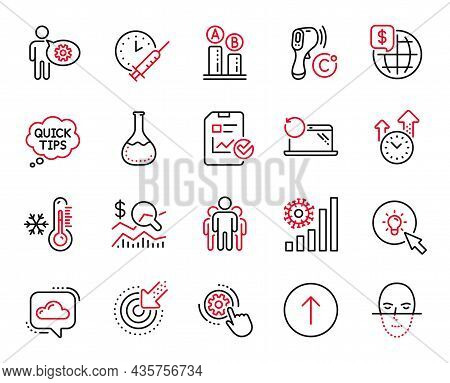 Vector Set Of Science Icons Related To Ab Testing, Group And Electronic Thermometer Icons. Time Mana