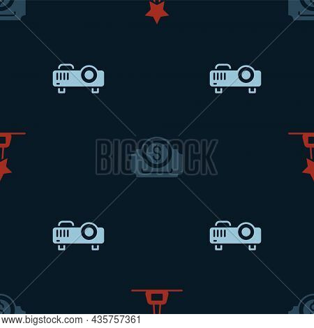 Set Movie Trophy, Cinema Ticket And Movie, Film, Media Projector On Seamless Pattern. Vector