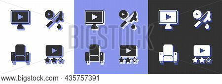 Set Rating Movie, Online Play Video, Cinema Chair And Thriller Icon. Vector