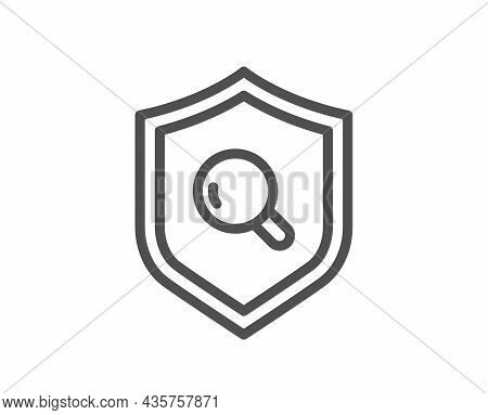 Inspect Line Icon. Quality Research Sign. Verification Shield Symbol. Quality Design Element. Line S