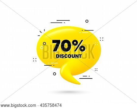 70 Percent Discount. Yellow 3d Chat Bubble. Sale Offer Price Sign. Special Offer Symbol. Discount Mi