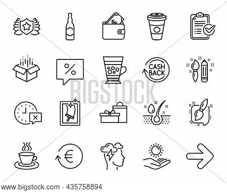 Vector Set Of Serum Oil, Wallet And Sun Protection Line Icons Set. Frappe, Cashback And Tea Cup Icon