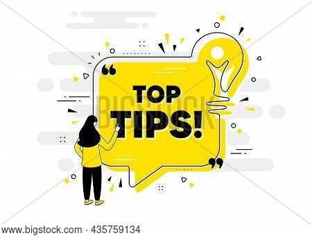 Top Tips Symbol. Idea Chat Bubble Banner With Person. Education Faq Sign. Best Help Assistance. Top