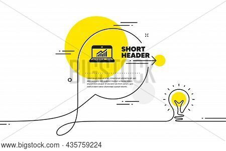 Data Analysis And Statistics Icon. Continuous Line Idea Chat Bubble Banner. Report Graph Or Chart Si