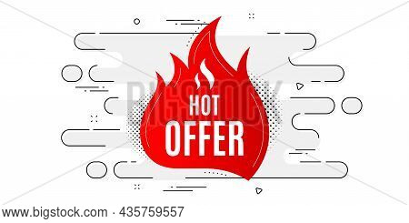 Hot Offer Banner. Geometric Ad Banner On Flow Pattern. Discount Sticker Shape. Coupon Tag Icon. Tran