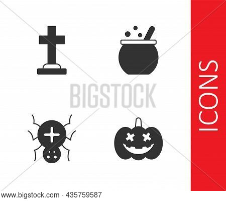 Set Pumpkin, Tombstone With Cross, Spider And Halloween Witch Cauldron Icon. Vector