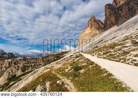 Three Peaks Of Lavaredo (drei Zinnen Or Tre Cime Di Lavaredo, South Rock Face) And The Crystal Mount