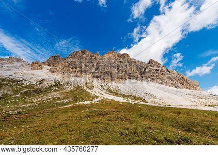 South Face Of Three Peaks Of Lavaredo (drei Zinnen Or Tre Cime Di Lavaredo), Famous Mountain Peaks O