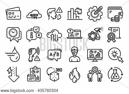 Vector Set Of Cloud Sync, Online Help And Hydroelectricity Line Icons Set. Calendar Report, Money Wa