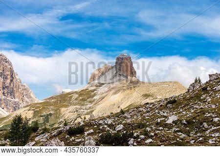 Sesto Dolomites Italy Alps. Mountain Peak Of Torre Dei Scarperi Or Schwabenalpenkopf, Natural Park O