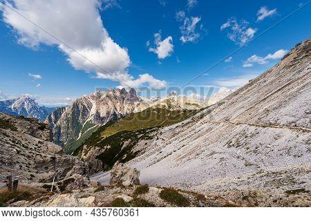 Sesto Dolomites From Tre Cime Di Lavaredo. Peaks Of Picco Di Vallandro, Monte Rudo, Croda Dei Rondoi