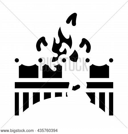 Burn Bridge And Divorce Glyph Icon Vector. Burn Bridge And Divorce Sign. Isolated Contour Symbol Bla