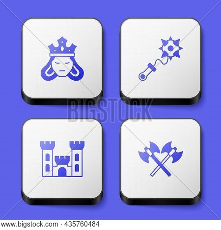 Set Princess Or Queen, Mace With Spikes, Castle And Crossed Medieval Axes Icon. White Square Button.