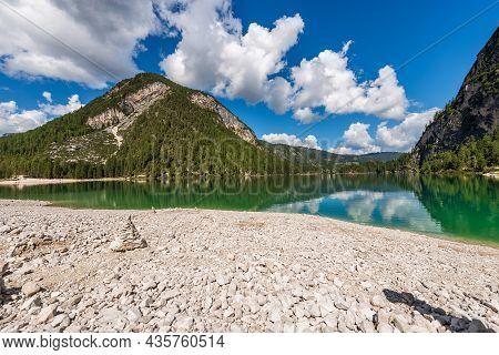 Lago Di Braies Or Pragser Wildsee. Small Alpine Beautiful Lake In Braies Valley, Dolomites, Unesco W