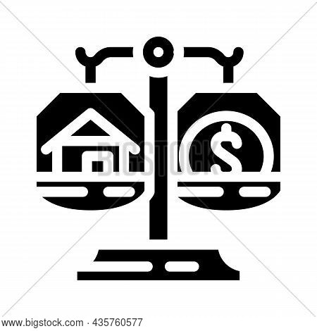 Property Division After Divorce Glyph Icon Vector. Property Division After Divorce Sign. Isolated Co