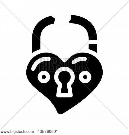 Broken Love Padlock Glyph Icon Vector. Broken Love Padlock Sign. Isolated Contour Symbol Black Illus