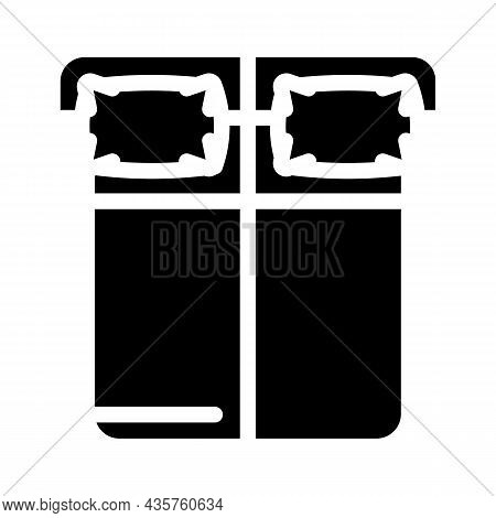 Sleep On Opposite Sides Of Bed Glyph Icon Vector. Sleep On Opposite Sides Of Bed Sign. Isolated Cont