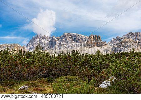 Sesto Dolomites, Tre Cime Di Lavaredo Natural Park. Mountain Peak Of Punta Tre Scarperi, Lastron Deg